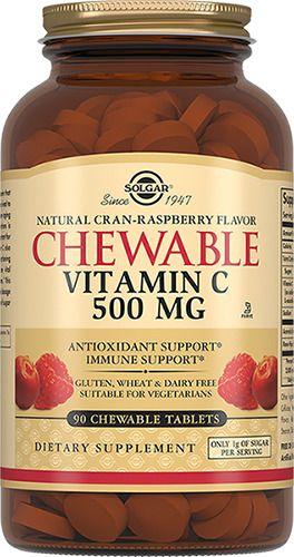 Solgar Витамин C 500 мг с малиновым вкусом, 500 мг, таблетки жевательные, 90 шт.