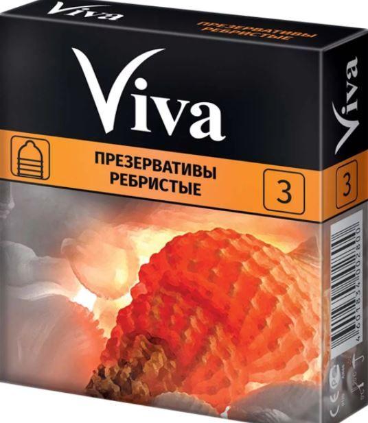 Презерватив Viva, презерватив, ребристые, 3 шт.