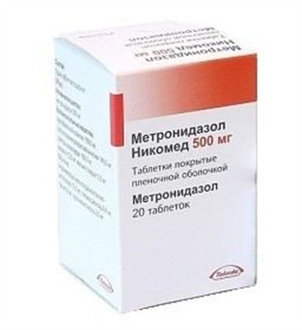 Метронидазол Никомед, 500 мг, таблетки, покрытые пленочной оболочкой, 20 шт.