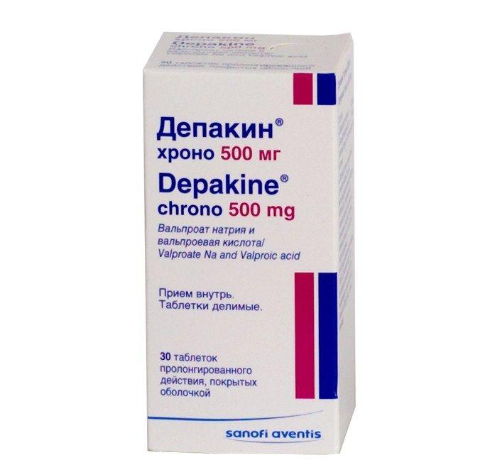 Депакин хроно, 500 мг, таблетки пролонгированного действия, покрытые оболочкой, 30шт.