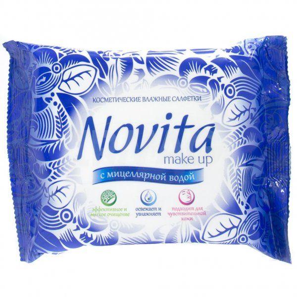 фото упаковки Салфетки для снятия макияжа Novita Мake-up с мицеллярной водой
