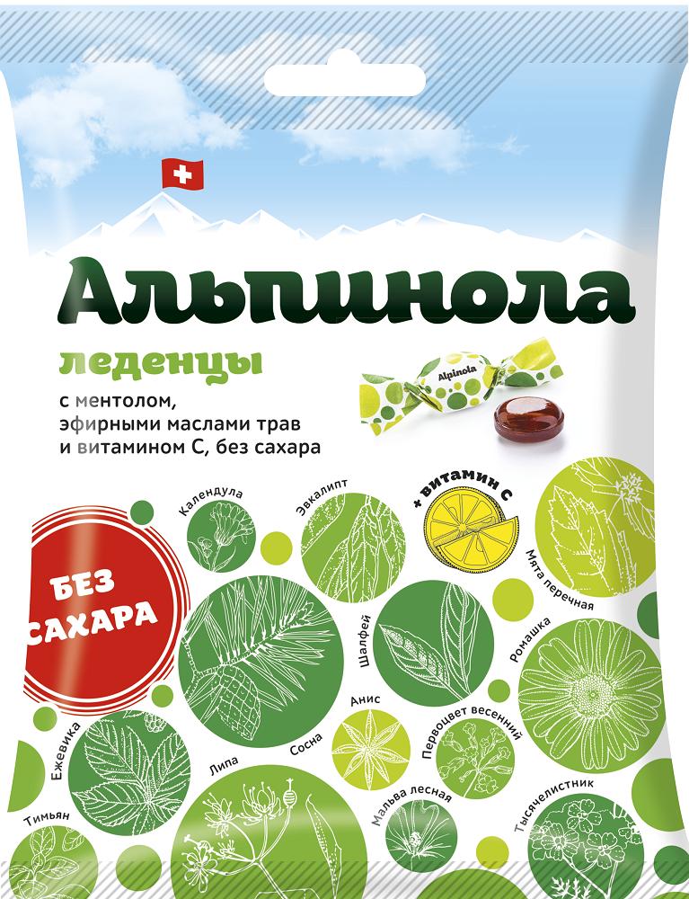 фото упаковки Альпинола леденцы без сахара ментол-эфирные масла трав-витамин С