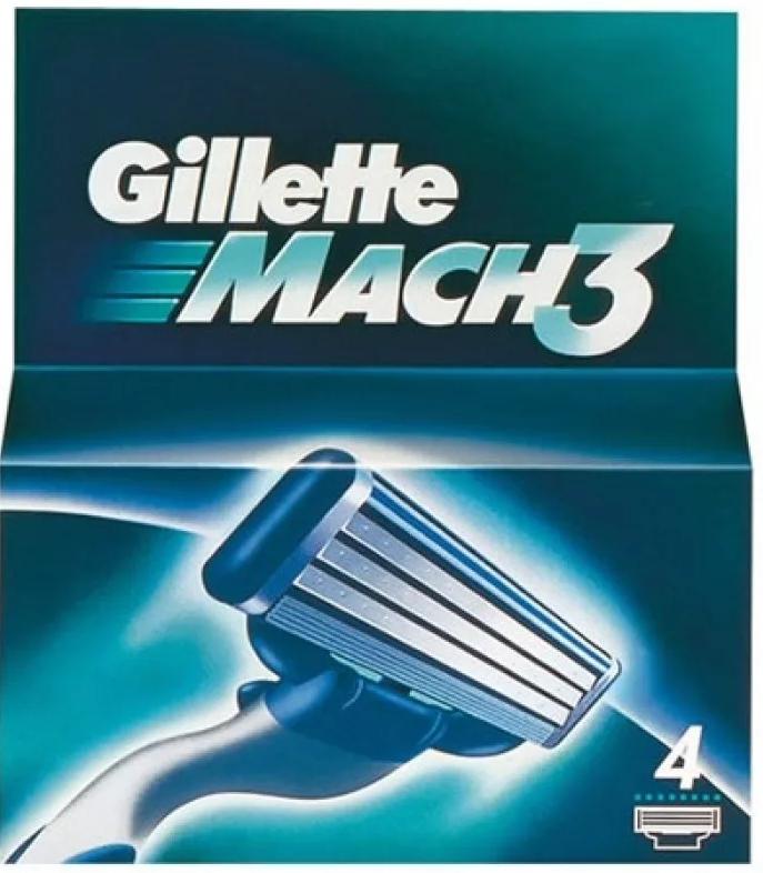 Gillette Mach 3 Кассеты для бритвенного станка, 4 шт.