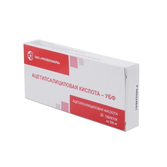 Ацетилсалициловая кислота-УБФ, 500 мг, таблетки, 20 шт.