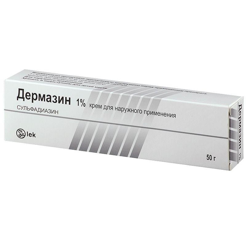 Дермазин, 1%, крем для наружного применения, 50 г, 1шт.