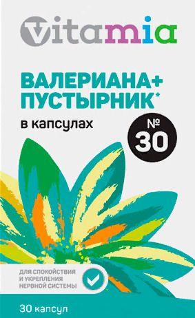 Vitamia Комплекс экстрактов валерианы и пустырника, капсулы, 30 шт.