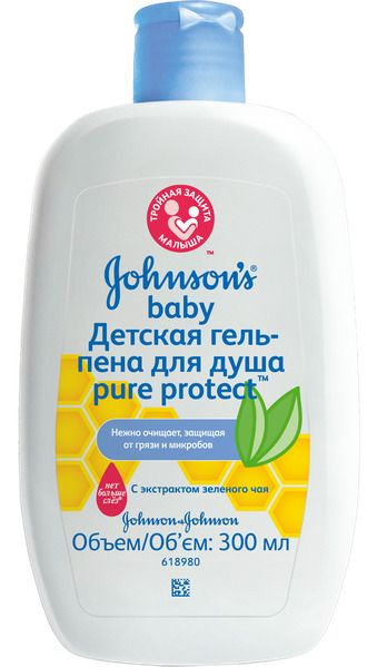 фото упаковки Johnsons Baby Pure Protect гель-пена для душа