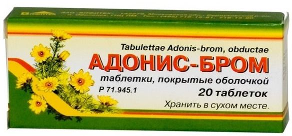 Адонис-бром, таблетки, покрытые оболочкой, 20 шт.
