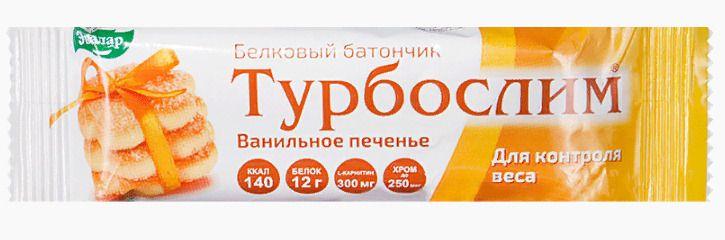 фото упаковки Турбослим батончик для похудения Ванильное печенье
