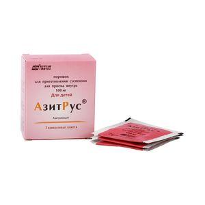 АзитРус, 100 мг, порошок для приготовления суспензии для приема внутрь, 4.2 г, 3 шт.