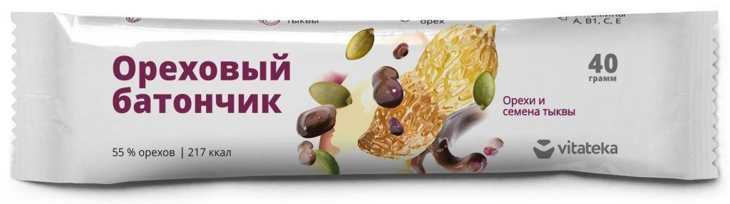 фото упаковки Витатека Батончик мюсли орех семена тыквы с витамином С