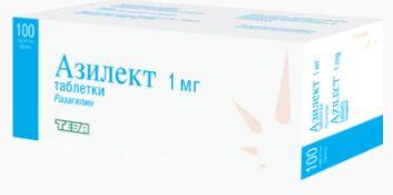Азилект, 1 мг, таблетки, 100 шт.