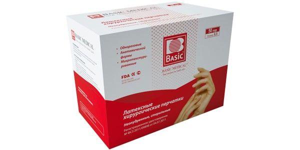 Перчатки хирургические латексные Basic Surgical PWD стерильные, №8.5, опудренные, 100 шт.