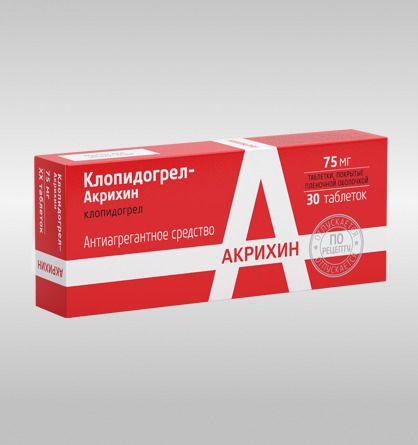 Клопидогрел-Акрихин, 75 мг, таблетки, покрытые пленочной оболочкой, 30 шт.