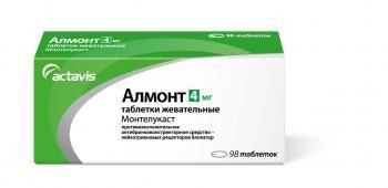 Алмонт, 4 мг, таблетки жевательные, 98 шт.