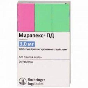 Мирапекс ПД, 3 мг, таблетки пролонгированного действия, 30 шт.