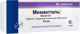 Меманталь, 10 мг, таблетки, покрытые пленочной оболочкой, 90 шт.