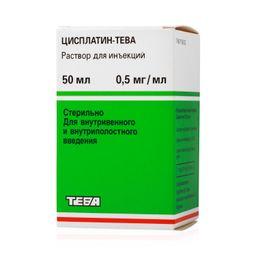 Цисплатин-Тева, 0.5 мг/мл, раствор для инъекций, 50 мл, 1шт.