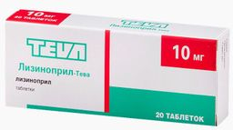 Лизиноприл-Тева, 10 мг, таблетки, 20 шт.