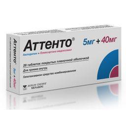 Аттенто, 5 мг+40 мг, таблетки, покрытые пленочной оболочкой, 28шт.