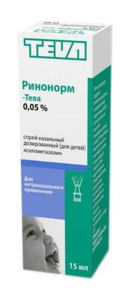Ринонорм-Тева, 0.05%, спрей назальный дозированный [для детей], 15 мл, 1 шт.