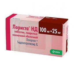 Лориста НД, 25 мг+100 мг, таблетки, покрытые пленочной оболочкой, 30 шт.