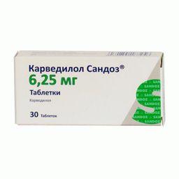 Карведилол Сандоз, 6.25 мг, таблетки, 30 шт.