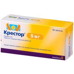 Крестор, 5 мг, таблетки, покрытые пленочной оболочкой, 98 шт.