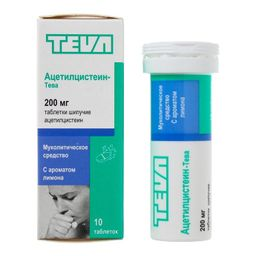 Ацетилцистеин-Тева, 200 мг, таблетки шипучие, лимонные(ый), 10 шт.