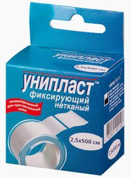 Унипласт пластырь фиксирующий, 2.5х500, пластырь медицинский, на основе нетканого материала, 1шт.