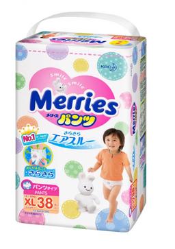 Подгузники-трусики детские Merries, 12-22 кг, р. XL, 38 шт.