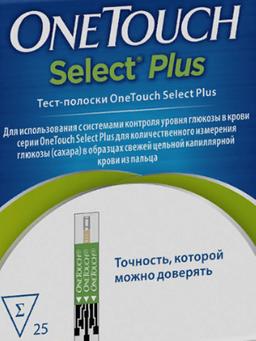 Тест-полоски OneTouch Select Plus, тест-полоска, 25 шт.