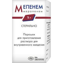 Мепенем, 1 г, порошок для приготовления раствора для внутривенного введения, 1шт.