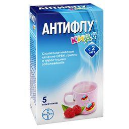 АнтиФлу Кидс, 160 мг+1 мг+50 мг, порошок для приготовления раствора для приема внутрь, 12 г, 5 шт.
