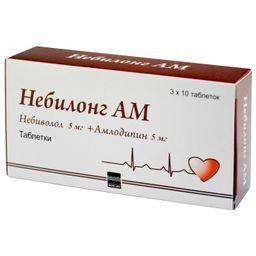 Небилонг АМ, 5 мг+5 мг, таблетки, 30 шт.