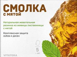 Витатека Смолка жевательная лиственничная с мятой, 0.8 г, таблетки, 5шт.