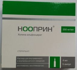Нооприн, 250 мг/мл, раствор для внутривенного и внутримышечного введения, 4 мл, 5 шт.
