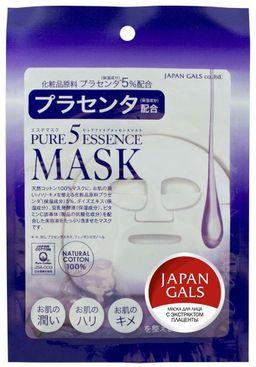 Japan Gals Pure5 Essential Маска с экстрактом плаценты, маска для лица, 1 шт.