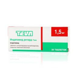 Индапамид ретард-Тева, 1.5 мг, таблетки с контролируемым высвобождением, покрытые пленочной оболочкой, 30 шт.