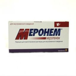 Меронем, 1 г, порошок для приготовления раствора для внутривенного введения, 10 шт.