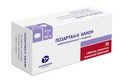 Лозартан-Н Канон, 25 мг+100 мг, таблетки, покрытые пленочной оболочкой, 30шт.
