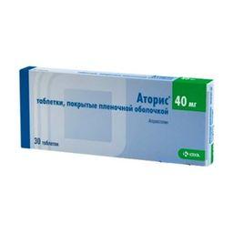 Аторис, 40 мг, таблетки, покрытые пленочной оболочкой, 30 шт.