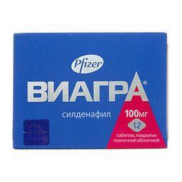 Виагра, 100 мг, таблетки, покрытые пленочной оболочкой, 12 шт.