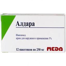 Алдара, 5%, крем для наружного применения, 250 мг, 12 шт.