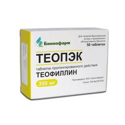 Теопэк, 300 мг, таблетки пролонгированного действия, 50 шт.
