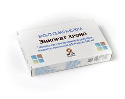 Энкорат хроно, 500 мг, таблетки пролонгированного действия, покрытые пленочной оболочкой, 30 шт.