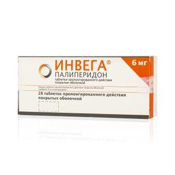 Инвега, 6 мг, таблетки пролонгированного действия, покрытые оболочкой, 28 шт.