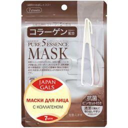 Japan Gals Pure5 Essential Маска для лица с коллагеном, маска для лица, 7 шт.