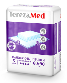 TerezaMed Super пеленки одноразовые, 90 смx60 см, Super (4 капли), 5шт.