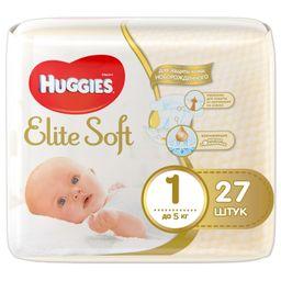 Huggies Elite Soft Подгузники детские одноразовые, р. 1(S), 1-5 кг, 27шт.